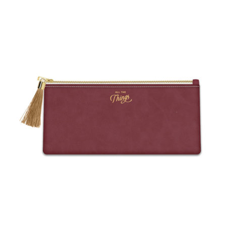 All The Things burgundy tassel pencil pouch